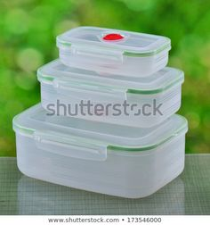 Plastic food containers on a natural background Plastic Food Containers, Food Storage Boxes, Natural Background, House On Wheels, Bugs, Photo Editing, Stock Photos, Rv Tips, Camping