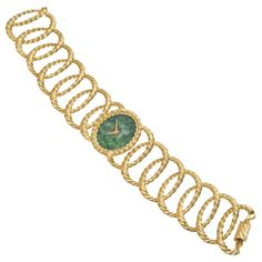 Pre-Owned Piaget 18k Gold Oval Link Bracelet Watch with Jade Dial l Betteridge