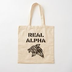 'Real Alpha - pack leader' Tote Bag by RIVEofficial Printed Tote Bags, Cotton Tote Bags, Reusable Tote Bags, Shopping Bag, Online Shopping, Alpha Pack, Pin Pin, Chiffon Tops, Cool Stuff