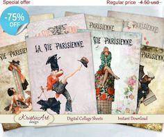 75% OFF SALE Digital Cards La Vie Parisienne  by KristieArtDesign
