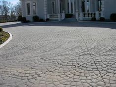 stamped concrete design for the future back patio Concrete Patios, Stamped Concrete Driveway, Wood Walkway, Flagstone Walkway, Outdoor Walkway, Walkways, Concrete Slab, Beton Design, Concrete Design