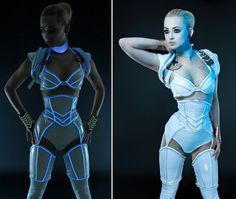 Buy Artifice Products - Glowing trim Angled thigh corsets at Wish - Shopping Made Fun Robot Costumes, Cosplay Costumes, Design Textile, Fashion Mode, Future Fashion, Shows, Halloween Cosplay, Festival Fashion, Costume Design