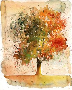 Autumn Tree-Landscape painting-Watercolor-Orange autumnal forest-Archival Large…                                                                                                                                                                                 More