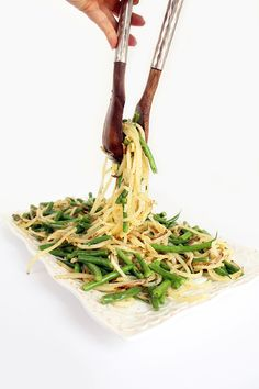 Potato noodle and green bean salad
