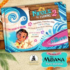 DIGITAL FILE Moana Digital 5x7 Invitation - Moana Birthday Party - U PRINT #BirthdayChild