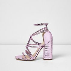 cc820061676 Metallic pink strappy block heel sandals - sandals - shoes   boots - women  Strappy Block