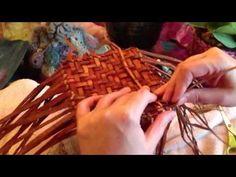 Me at home weaving a cedar basket.