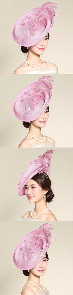 Womens Formal Hats 131476  New Church Kentucky Derby Wedding Party Sinamay  Wide Brim Dress Feather ef26b3f443b3