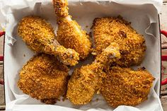 Fried Chicken using Butter milk. I used honey bunches of oats instead of corn flakes, it made it sweet. Also cook chicken for 55 min. not 35 min