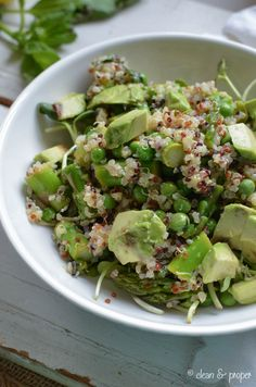 Asparagus, Pea & Quinoa Salad - Gluten-Free, Organic and Vegan. Perfect for summer barbecues, garden parties and picnics!