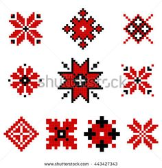 Traditional Ukrainian Ornament Elements Set Phulkari Embroidery, Folk Embroidery, Cross Stitch Embroidery, Embroidery Patterns, Cross Stitch Patterns, Tiny Cross Stitch, Embroidery Tattoo, Brazilian Embroidery, Halloween Crafts For Kids