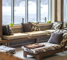 LEMAYMICHAUD | Quebec | Architecture | Interior Design | Spa | Lobby | Seating | Light | Wood Outdoor Sofa, Outdoor Furniture, Outdoor Decor, Steam Room, Bay Window, Spa Day, Quebec, Interiores Design, Architecture Design