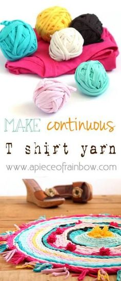 kinda loving this... t- shirt yarn...tutorial... rag rug...tutorial...love the pompoms... by MyLittleCornerOfTheWorld #HomemadeRugs
