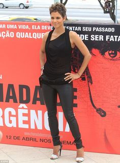 Hard at work: During the day she promoted the film The Call at Copacabana Palace