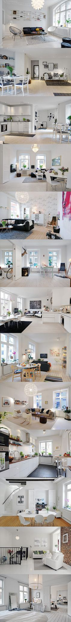 Beautiful & Stylish Scandinavian interior design inspiration  All windows - shelf to put plants as in Sweden Use big mirrors to give depth to rooms Landing = hanging light (pinned it Can use a light lamp fixed on a self to focus light Folding chairs Wall paper - Black pattern on white background  Kitchen - knife magnet shelves - (pinned)