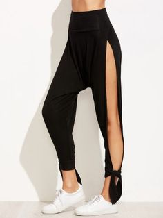 Black Wide Waistband Split Side Tied Hem Harem Pants
