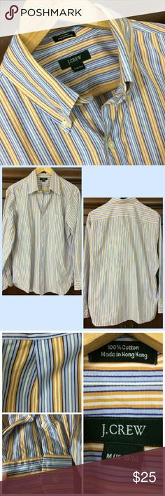 J. Crew Men's shirt Nice J Crew striped shirt, button down collar, 100% cotton, size M 15-15 1/2. Two spots pointed out in pic 4 with thread extruding, pulling or cutting could cause hole. True colors of shirt see pic 3. J. Crew Shirts Casual Button Down Shirts
