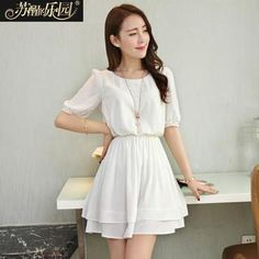 Lace Trim Chiffon Dress