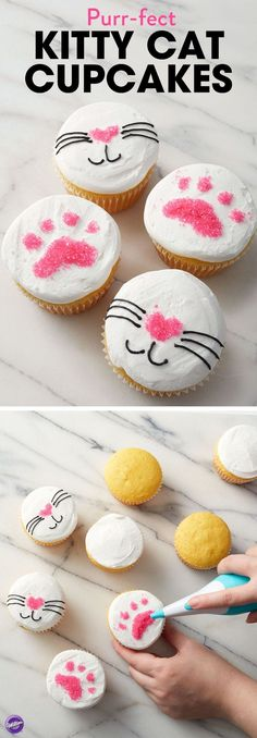 A sweet treat for cat lovers of all ages, these Purr-fect Kitty Cat Cupcakes are great for birthday parties or any occasion or celebration. Use the Sugar Writer Sanding Sugar Pen to create detailed hearts and paw prints with Pink Sanding Sugars, then add finer details with black icing.