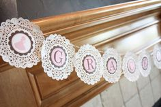 Vintage/ Shabby Chic First Communion - Doily Banner First Communion Party, Baptism Party, First Holy Communion, First Communion Decorations, Baptism Banner, Baptism Favors, Baptism Ideas, Birthday Decorations, Cumpleaños Shabby Chic