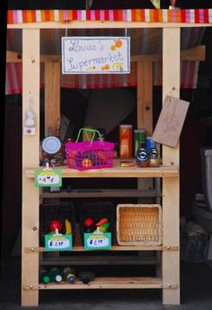 I was recently helping a friend brainstorm ideas for putting together a little play store for her son when I came across this terrific DIY version that Sibylle of Funkytime put together a few years ago mostly using IKEA parts.