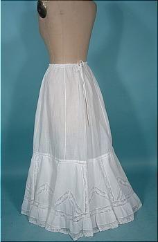 c. 1905 Edwardian White Cotton Lace Half Petticoat