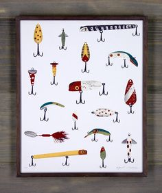 Grandpa's Lures Screen Print by Arsenal Handicraft