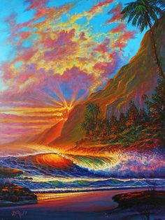 'Molokai Sunset' by jyruff Framed Prints, Canvas Prints, Art Prints, Seascape Paintings, Rest Of The World, Oil On Canvas, Hand Painted, Fine Art, Sunset