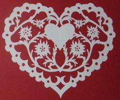 scherenschnitte patterns | Scherenschnitte Papercut Edelweiss Heart German by CreatingCottage