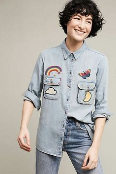 Holding Horses Patched-Up Buttondown All Fashion, Star Fashion, Denim Button Up, Button Up Shirts, Blouse Outfit, Light Denim, Blouses For Women, Chef Jackets, Street Style