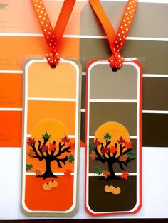 These DIY paint chip bookmarks make a great fall craft for kids. They're a fun activity for Halloween!