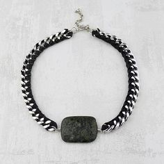 Elisa Chunky Silver and Leather Statement Necklace