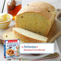 50 States in 50 Days: Arizona :: Arizona Corn Bread Recipe from Taste of Home. Find regional Southwestern recipes like this one and more in our new cookbook, Recipes Across America----> http://www.tasteofhome.com/rd.asp?id=22997