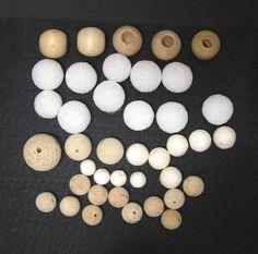 39 Piece Vintage Round Ball and Bead Craft Supply, 1/2 Inch Diameter to 1.5 Inch, Wood, Styrofoam, Cork, ~~by Victorian Wardrobe by VictorianWardrobe on Etsy