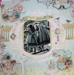 Summer garden girls scrapbook layout
