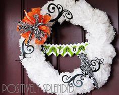 DIY Halloween Decor DIY Halloween Crafts: DIY Tissue Paper Pom-Pom Halloween Wreath