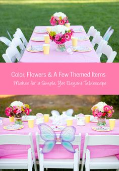 Impromptu-Parties---Princess-Tablescape. attach wings to the chair backs. Great decoration and party favor for the guest