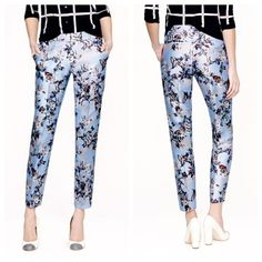 """J. Crew collection hummingbird cafe capris This print was inspired by the vivid botanical scenes our head designer looked at in Time Life nature books as a child. In order to achieve the incredible clarity and color, we worked with one of our in-house artists, then digitally printed the motif on silk shantung for some chic irregular texture. True to size. City fit—our lowest rise. Sits just above hip. Fitted through hip and thigh, with a straight, cropped leg. Silk/cotton. 27"""" inseam. Dry…"""