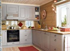 View our pages for lots more pertaining to this impressive photo Rustic Kitchen, New Kitchen, Kitchen Dining, Kitchen Decor, Log Cabin Kitchens, Cottage Kitchens, Cabin Homes, Log Homes, Pine Kitchen Cabinets