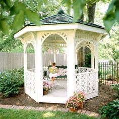 Picture-Perfect Kit Gazebo - Pre-finished kits offered by many manufacturers are a convenient way to add a gazebo to your yard--especially if you love DIY projects. Ideally the components will Building A Pergola, Pergola Plans, Pergola Kits, Building Ideas, Backyard Gazebo, Backyard Landscaping, Diy Gazebo, Landscaping Ideas, Outdoor Rooms