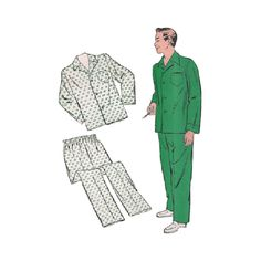 1940s Mens Pajamas Chest 32-36 New York 1051 Vintage Sewing Pattern