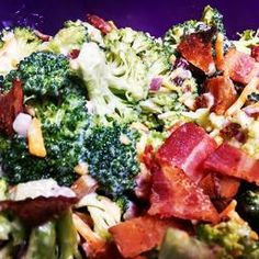 Brocolli Salad with Bacon This recipe is perfect to make in a large batch to take to a pot luck or event just to have in the fridge to eat over a couple of days. Perfectly paired with a seared steak sliced up or even on its own as a tasty lunch.