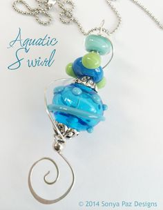 Pendant – Aquatic Swirl handmade pendant www.sonyapaz.com