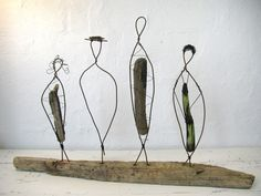 wire, driftwood sculpture -