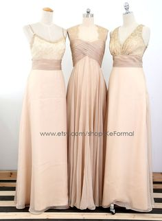 Champagne (or any custom color) Long Bridesmaid Gown Chiffon Lace Bridesmaid by KeFormal