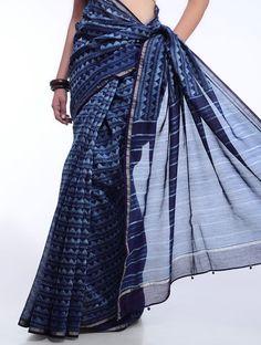 Geometric Dabu-Print Chanderi Saree #indigo #dye #akola #rajasthan #udaipur #mud #printing