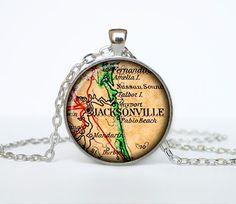 Jacksonville map pendant Jacksonville  map by TheJewelryIsland
