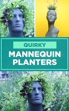 Turn wig holders into fun garden planters!