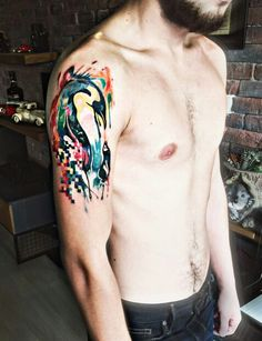 Watercolor Penguin Tattoo. This is simply amazing! Still can not believe that...