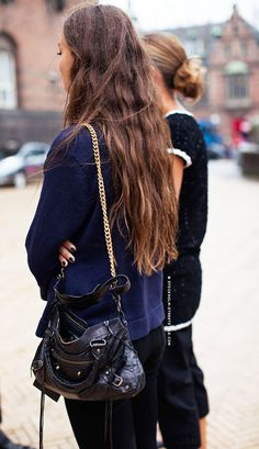 - blue sweater like this (tighter fitting one from theory) - bag (perhaps snakeskin one) - black bottoms
